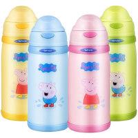 日本儿童保温杯小猪佩奇带吸管两用水杯小学生防摔幼儿园宝宝水壶