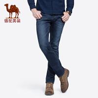 骆驼男装 秋季新款中腰弹力直筒牛仔裤青年休闲水洗长裤子男