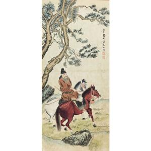 马晋《骑马》纸本立轴