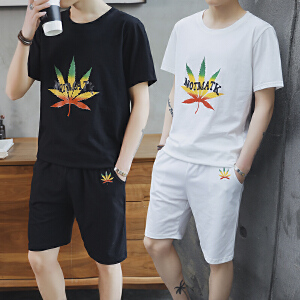 夏装2018新款度假韩版旅游短袖T恤两件套沙滩裤套装DS80