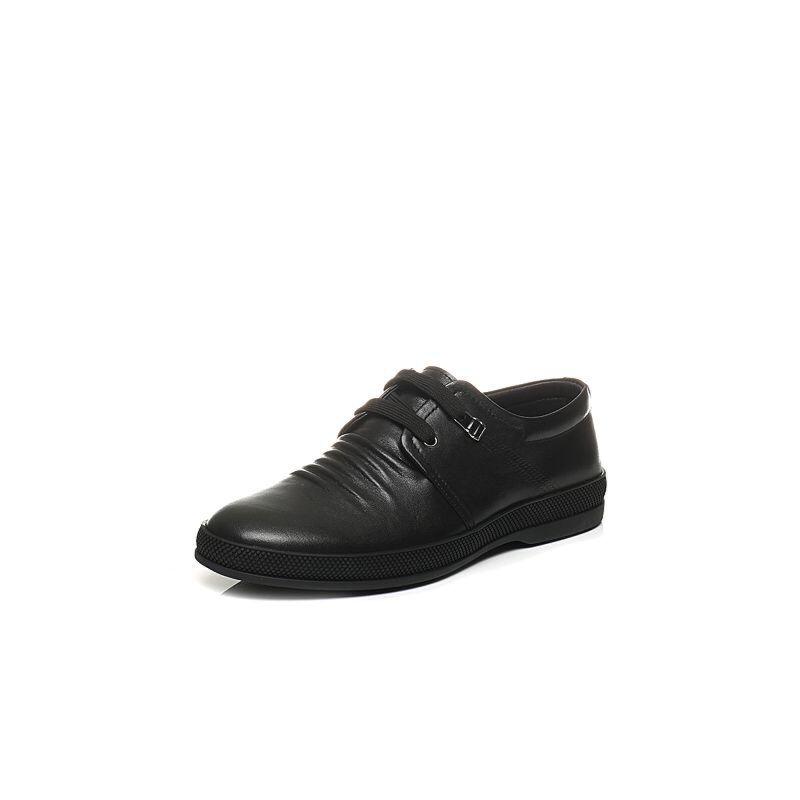 Belle/百丽春季专柜同款牛皮鞋面褶皱男休闲鞋4TB01AM7
