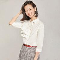 梵希蔓白衬衫女设计感小众2019春秋洋气七分袖法式方领上衣