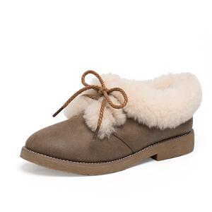 如熙2017年冬季新款女靴马丁靴粗跟平底靴子棉鞋冬季鞋子