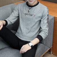 男士长袖T恤秋季打底衫男装2018秋季新款春秋圆领潮流韩版针织上衣服yly