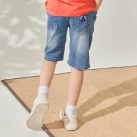 【1件2.5折到手价:42.3】米喜迪mecity童装19夏新款男童撞色罗纹腰头牛仔中裤