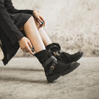 玛菲玛图军马丁靴英伦风女鞋秋冬新款女靴子厚底中跟复古真皮带扣中筒靴5751-2S