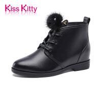 KissKitty奇思凯蒂2017冬新款牛皮甜美毛球装饰内增高矮靴女