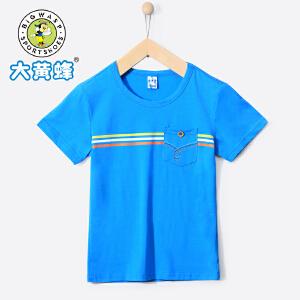 大黄蜂童装 男童短袖T恤2018夏季新款休闲水洗学生棉圆领上衣韩版