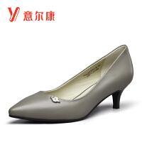 【通勤时尚女单鞋】意尔康女鞋真皮套脚尖头女士单鞋浅口女高跟鞋