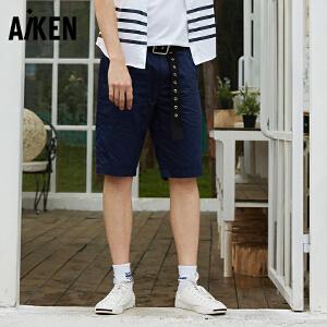 森马旗下Aiken休闲短裤男夏季新款学生男生青年五分裤纯棉沙滩裤纯色5分裤