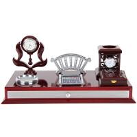 创意办公室桌摆件带时钟表温度计笔筒装饰品专属刻字礼物定制文台 文台11023