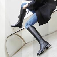 冬季方头平底长筒靴女不过膝骑士靴网红长靴高筒靴马靴女靴子显瘦SN9484