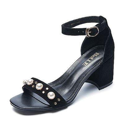Belle/百丽夏季专柜同款羊绒皮革女凉鞋R5E1DBL7