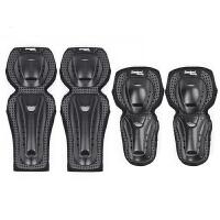 ()摩托车护膝护具骑行护腿护肘摩旅装备加厚加绒四件套骑行装备 黑色四件套 常规款