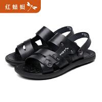红蜻蜓凉鞋男2019新款夏季软底两用凉鞋真皮沙滩鞋凉拖鞋