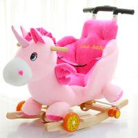 儿童木马两用摇摇马婴儿摇椅宝宝玩具实木带音乐拉杆摇车周岁礼物