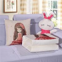 棉麻两用抱枕被亚麻枕头被靠垫被汽车办公室午休空调被小被子薄被 45X45c/开110*150