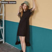 【1件5折价:74.5】美特斯邦威连衣裙女2019夏季新款潮流蕾丝女士法式复古裙过膝很仙