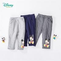 【2件3折到手价:49.5】迪士尼Disney童装 男童米奇印花三层夹棉长裤冬季新品保暖防寒裤子 194K847