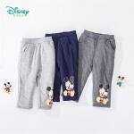 迪士尼Disney童装 男童米奇印花三层夹棉长裤冬季新品保暖防寒裤子 194K847