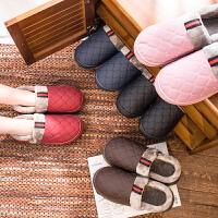 包跟棉拖鞋女男pu皮面防水居家厚底室内冬季情侣男士加绒保暖防滑