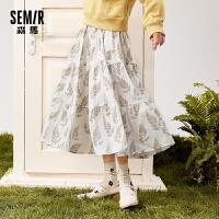 森马半身裙女2021春季新款A字蛋糕裙碎花中长裙印花裙子雪纺裙子