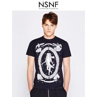 NSNF天使女神纯棉圆领黑色T恤男修身 男装2017短袖新款 修身圆领针织短袖