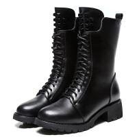 新款马丁靴女英伦粗跟中筒铆钉短靴中跟真皮靴子秋冬加绒女鞋2018 黑色 单里