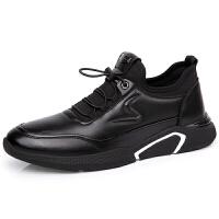 男鞋秋季皮鞋男士休闲鞋韩版英伦潮流鞋子透气软底百搭运动鞋 黑色 69216