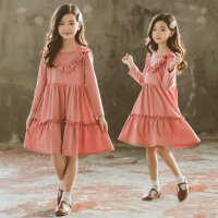 韩版女童春装连衣裙洋气时尚儿童装中大童长袖荷叶边大摆公主裙子