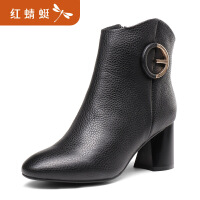 【领�幌碌チ⒓�120】金粉世家 红蜻蜓旗下 冬季新款真皮短筒靴女靴圆头马丁靴