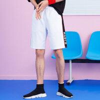 【1件2.5折叠券约:42.2,6月5日仅此一天】美特斯邦威休闲短裤男装夏季新款潮流字母印边运动针织中裤
