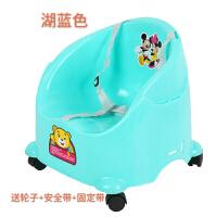 儿童餐椅多功能宝宝餐椅便携式可折叠婴儿椅子小孩吃饭椅饭桌椅 湖蓝色 送轮子+安全带