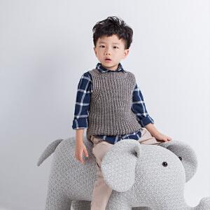 男童毛衣背心马甲针织坎肩外穿新款秋冬宝宝红儿童毛线小童套头潮