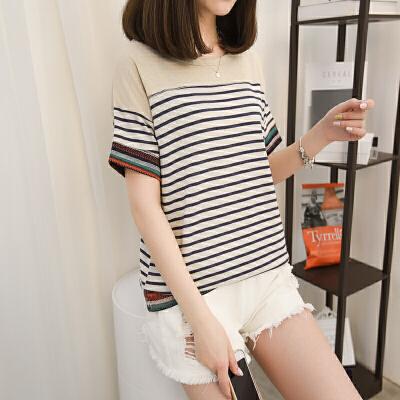 韩版宽松上衣长袖t恤女百搭文艺民族风条纹体恤打底衫潮