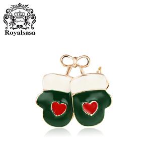 皇家莎莎圣诞手套胸针 女韩版气质爱心胸花衬衣领针送女友礼物