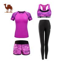 camel 新款骆驼瑜伽服女春夏季四件套速干跑步健身服运动套装健身房