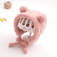 韩国婴儿帽子宝宝冬季毛绒帽柔软护耳男女宝宝冬天保暖帽0一1岁潮 均码