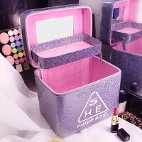 化妆箱大容量简约便携护肤品收纳盒双层韩版手提化妆包美甲工具箱