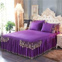 ???欧式全棉蕾丝床裙单件床罩纯棉单双人防滑套简约纯色裙式床单1.8m