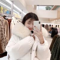 №【2019新款】冬天美女穿的白色羽绒服女宽松2018新款真毛领面包服加厚鸭绒外套