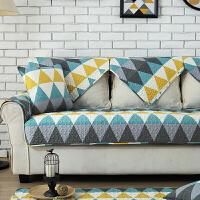 北欧几何图案全棉布艺沙发垫简约现代防滑实木四季通用组合沙发套