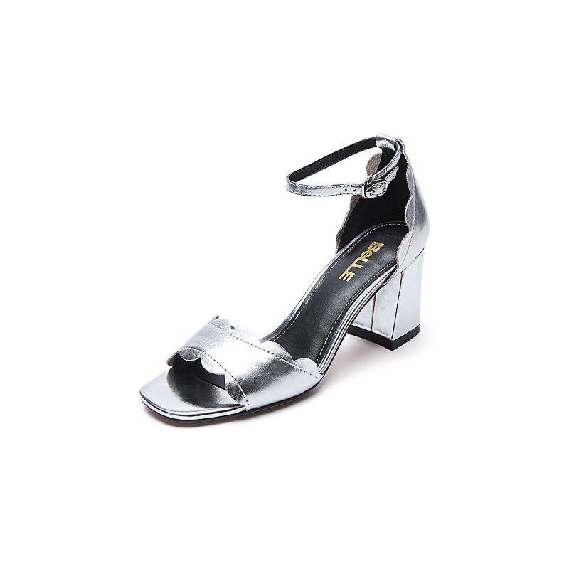 Belle/百丽夏季专柜同款胎牛皮革女皮凉鞋R3P3DBL7