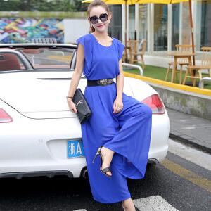 风轩衣度 套装/套裙2018年夏季新款纯色圆领无袖修身雪纺阔腿裤两件套 2031-9885