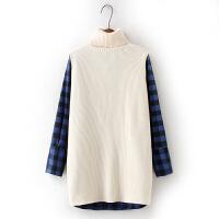 新款韩版高领开叉针织背心毛衣+格子衬衫女中长款衬衣两件套 黑蓝格/米白 18#-2-1 均码