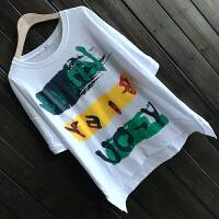 大码女装纯棉彩色字母韩版宽松中长款短袖T恤胖MM显瘦潮范打底衫 均码
