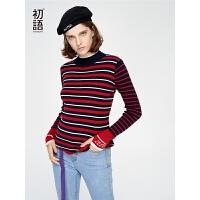 初语复古撞色条纹毛针织衫女秋装新款修身弹力百搭打底毛衣