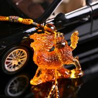 汽车挂件车内饰品挂饰平安挂件车载车上后视镜高档琉璃保平安 浅琥珀色