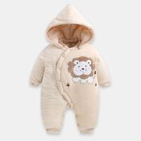 婴儿棉袄新生儿连体衣秋冬加厚0-3-6-9-12月宝宝棉衣爬服哈衣开档