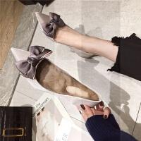 2018秋冬季新款学生百搭加绒网红高跟鞋女细跟尖头蝴蝶结猫跟单鞋SN5502 香槟色 送可拆卸毛毛鞋垫